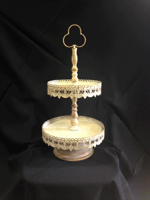 Where to find TRAY, 2 TIER  VINTAGE  IVORY CRACKLED in Kingsport