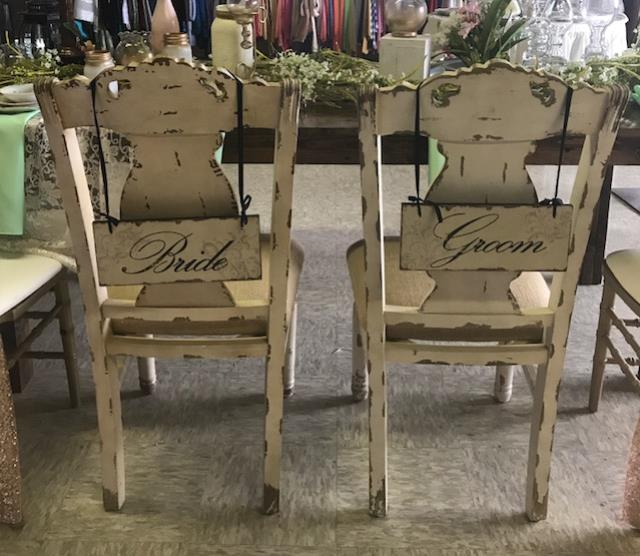Where to find BRIDE   GROOM CHAIRS   IVORY  2 CHAIRS in Kingsport